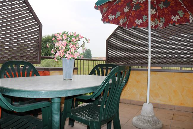 balcony with garden furniture