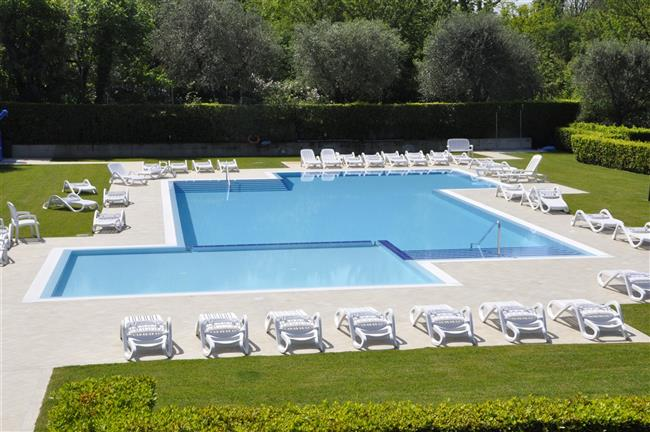 Pool with shared deck chairs